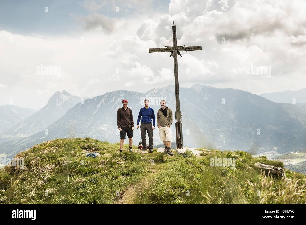 Portrait of three mature male hikers on mountain, Achenkirch, Austria - Stock Image