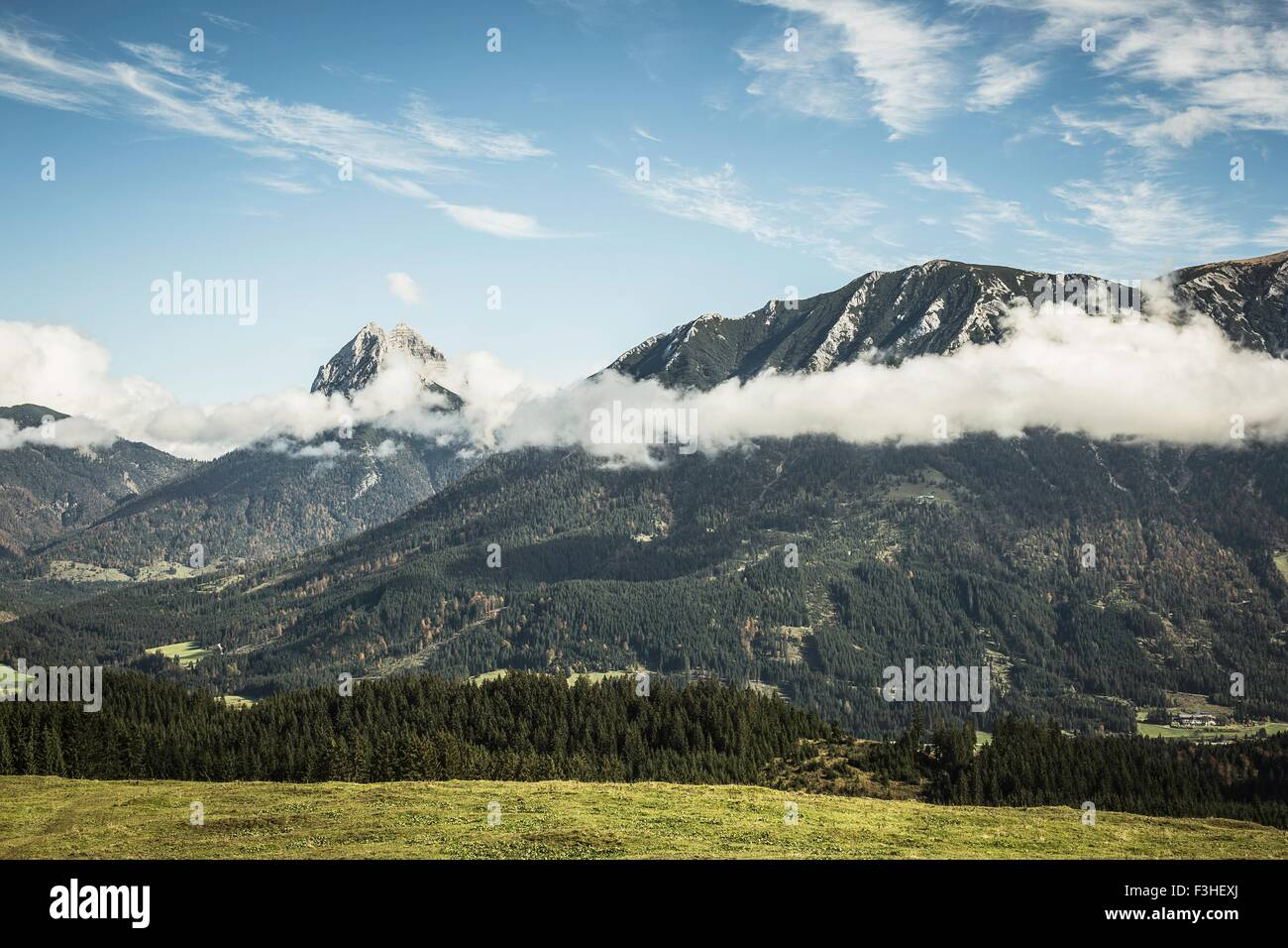 Landscape of mountains and low cloud, Achenkirch, Austria - Stock Image
