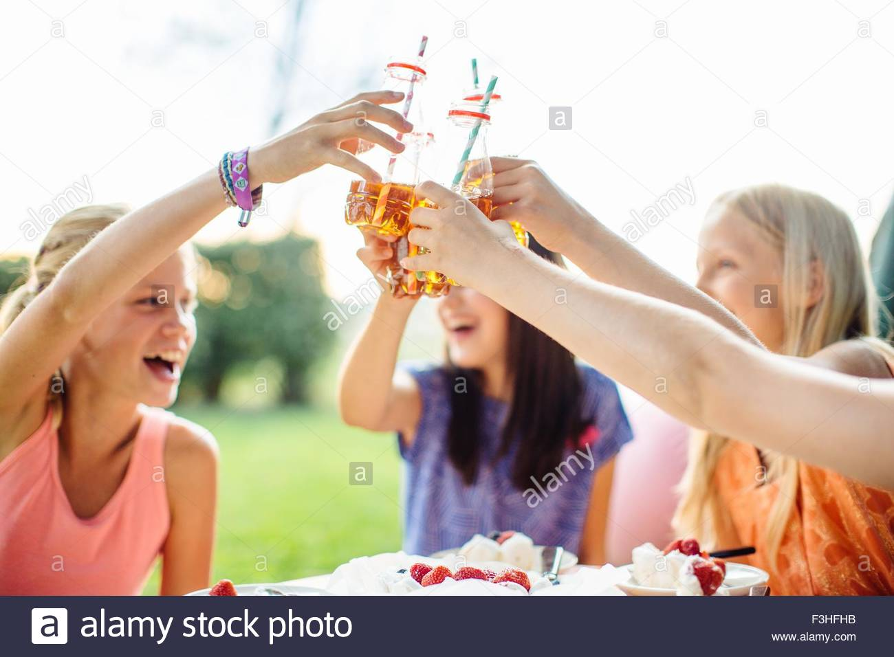 Girls toasting at summer garden party - Stock Image