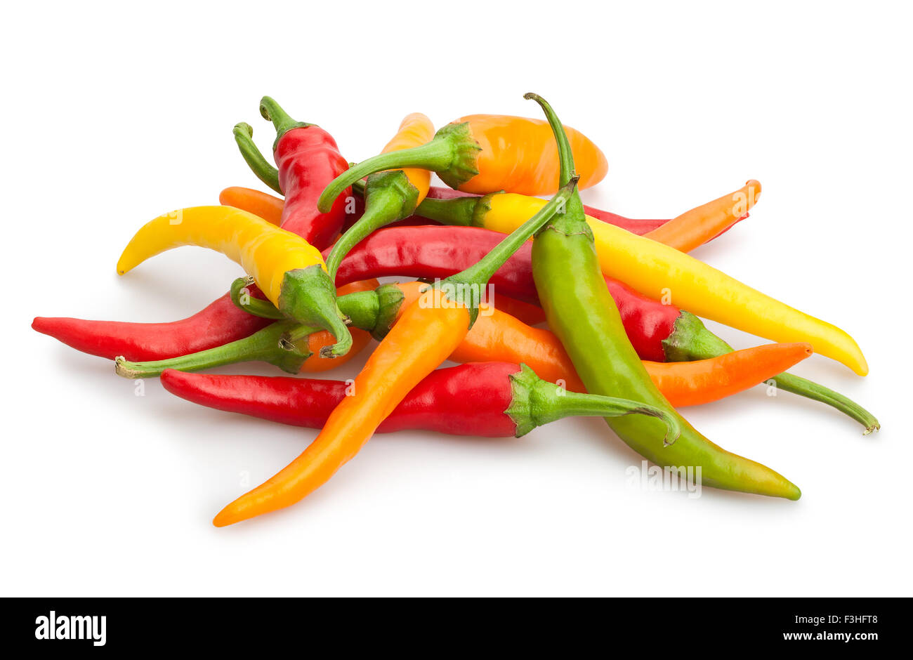 chilli peppers isolated - Stock Image