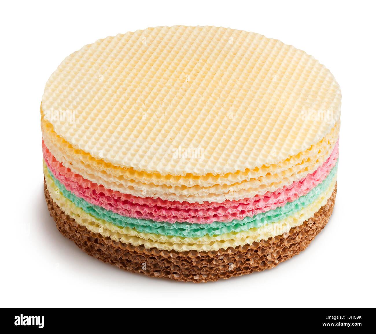 round waffle pile isolated - Stock Image