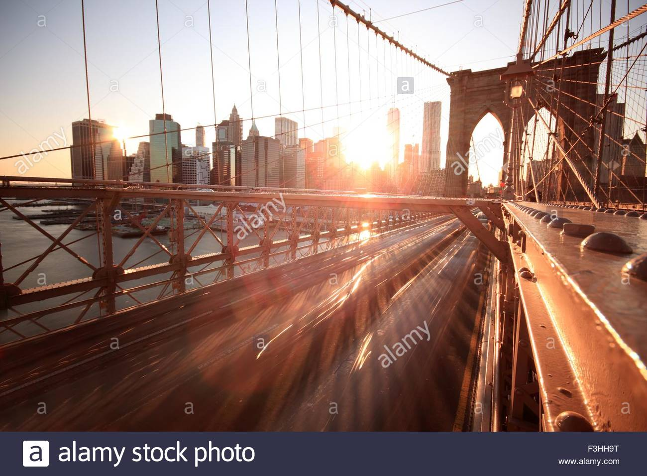 Cityscape and Brooklyn Bridge, Manhattan, New York City, USA - Stock Image