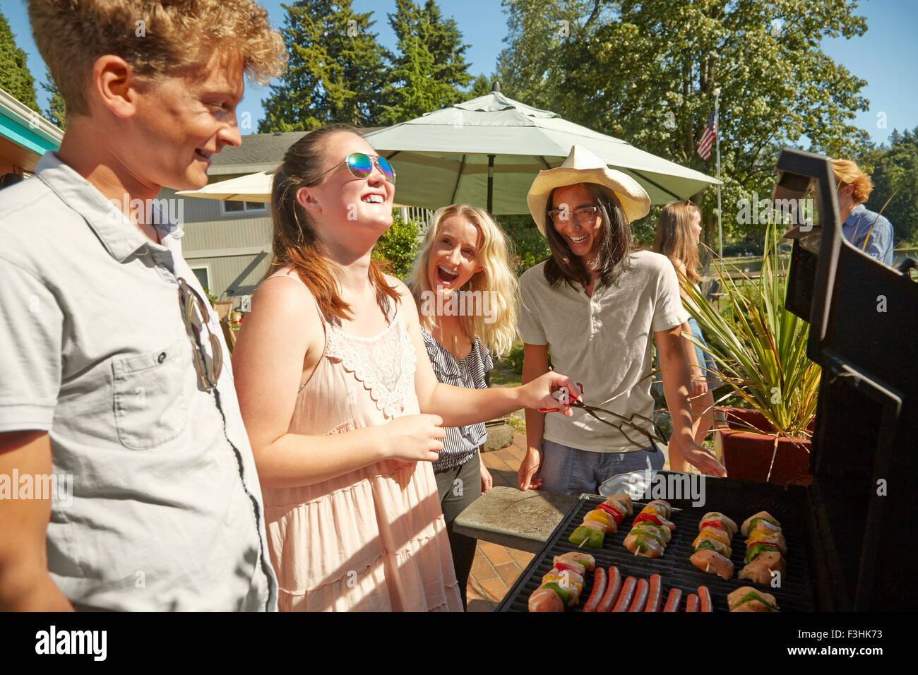 Friends at barbecue party - Stock Image