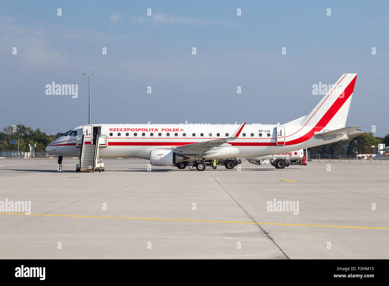 Embraer ERJ-175LR of the Polish Government at the Frankfurt Airport - Stock Image