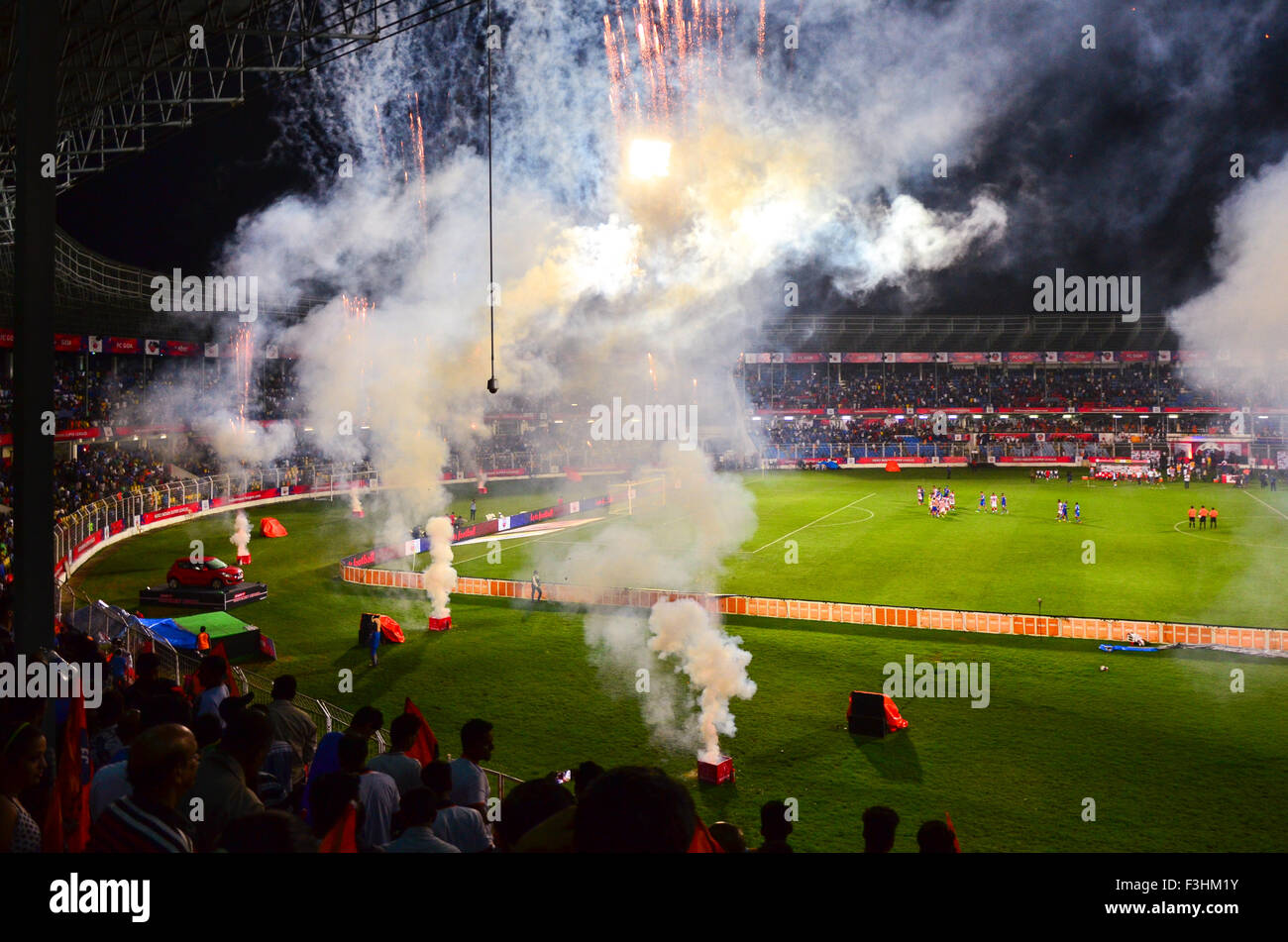 Fireworks after the final whistle in Indian Super League (ISL) encounter of FC Goa against Atlético de Kolkata - Stock Image