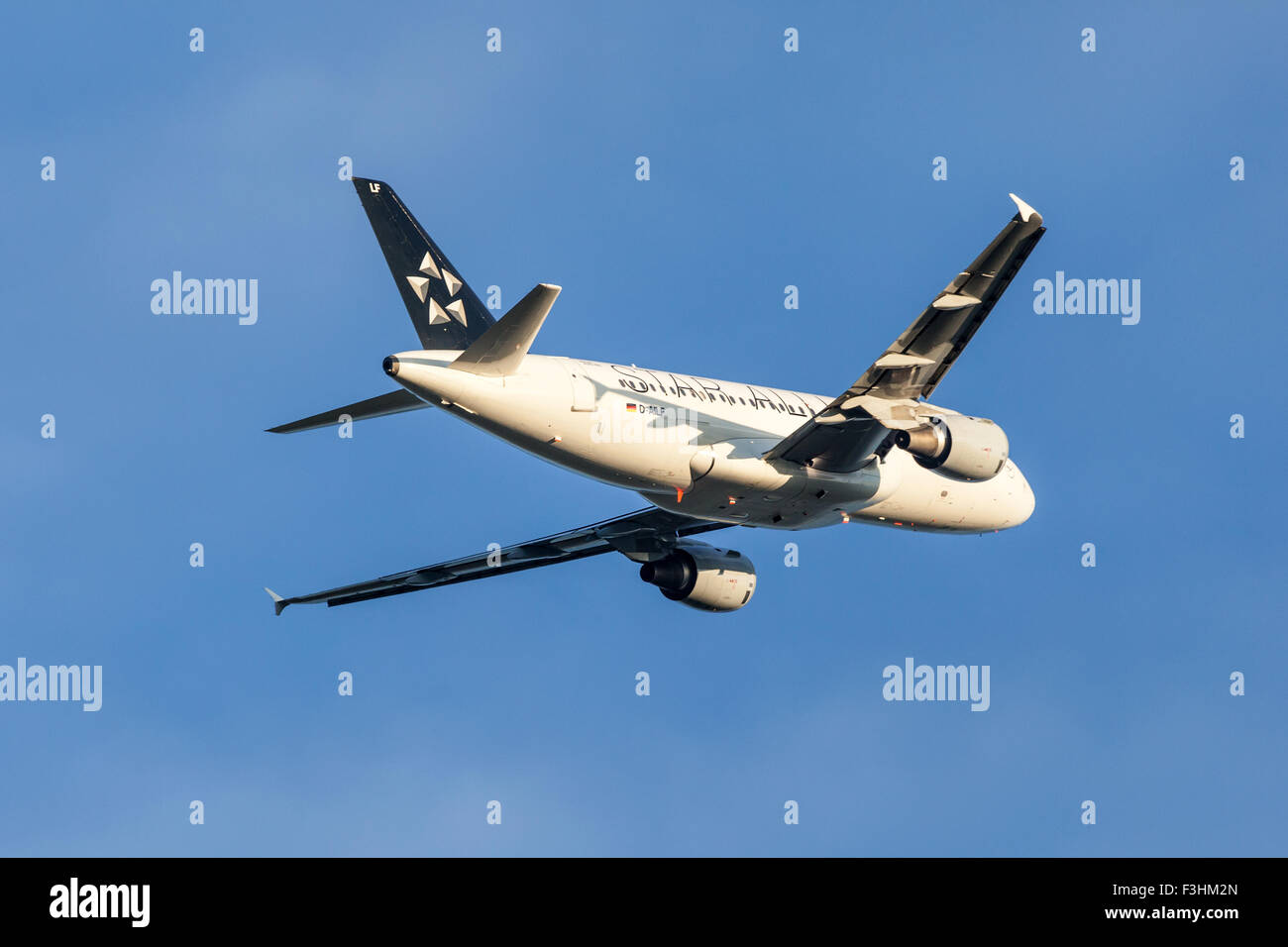Star Alliance Airbus A319 aircraft after takeoff at the Frankfurt International Airport - Stock Image