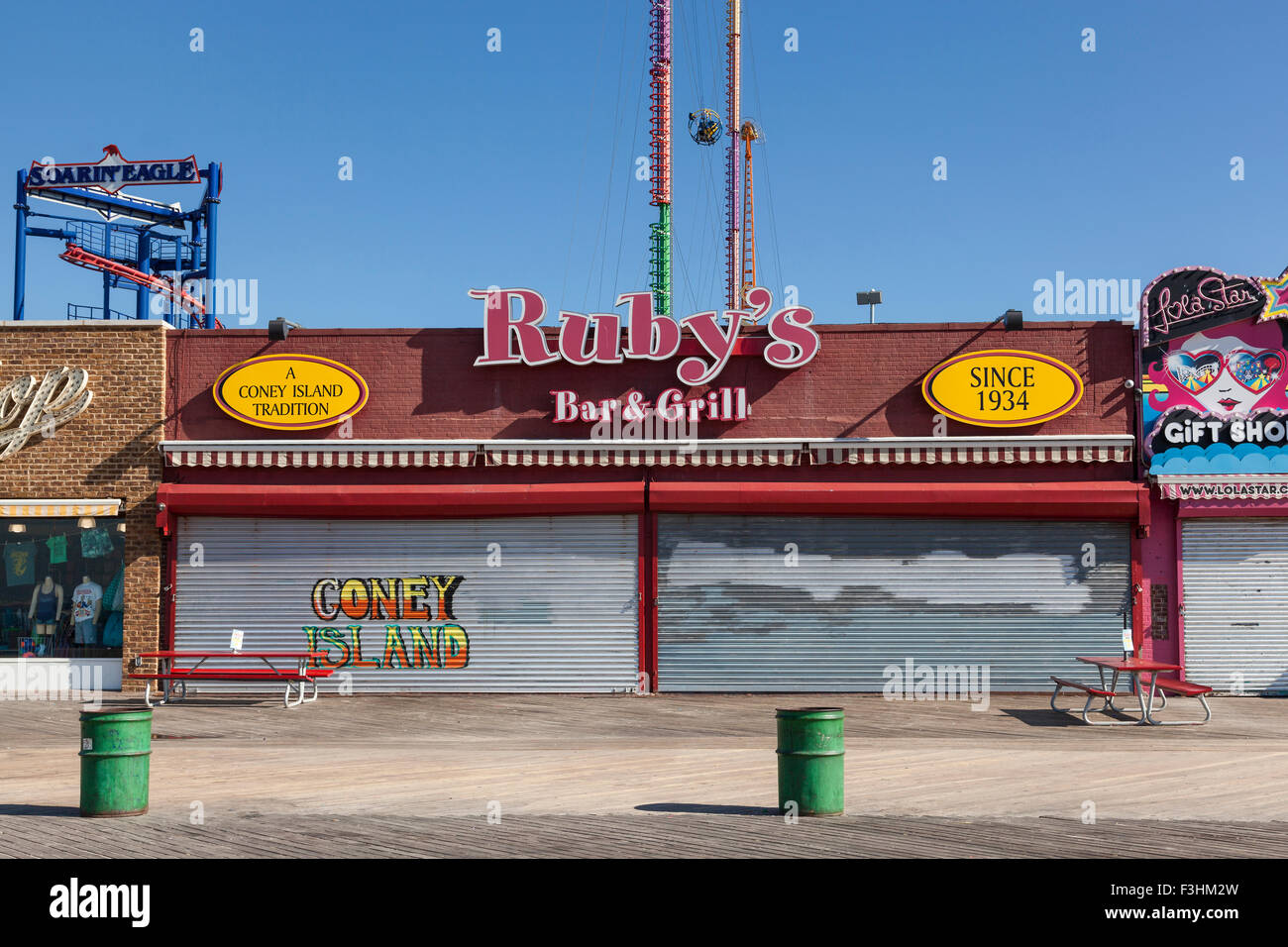 Ruby's bar and grill, Coney Island, Brooklyn, New York - Stock Image