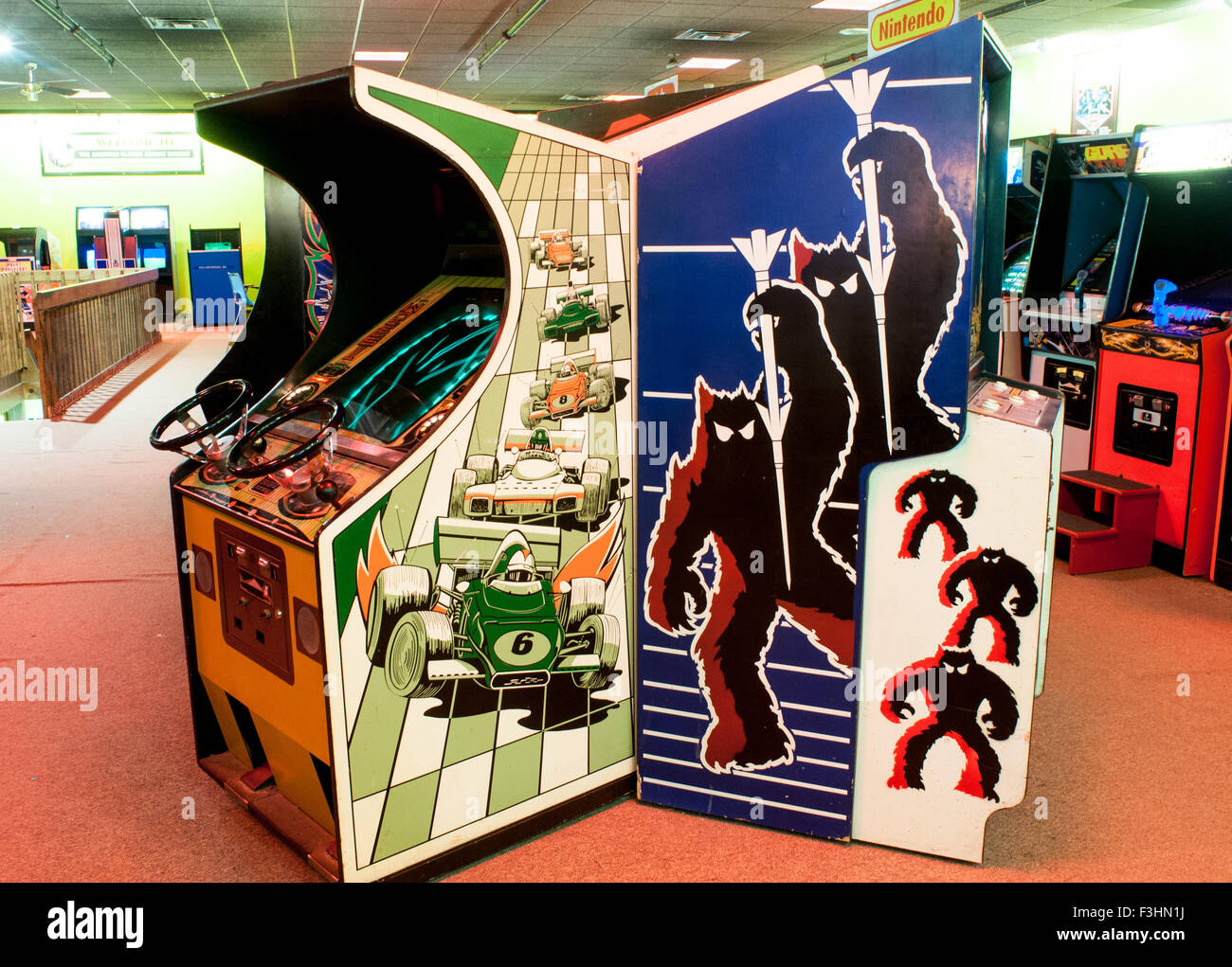 Video games inside the American Classic Arcade Museum in Laconia, New Hampshire, USA - Stock Image