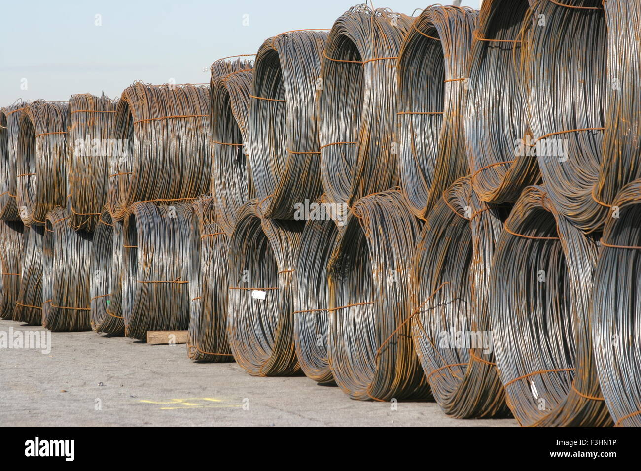 steel coils imported at port - Stock Image