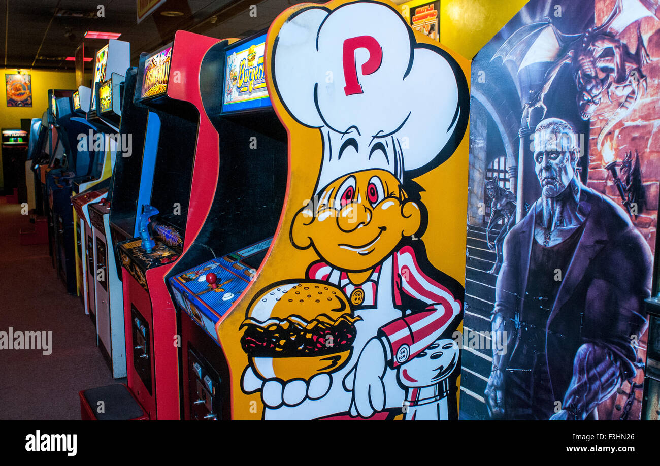Video games at the American Classic Arcade Museum in Laconia, New Hampshire, USA. - Stock Image