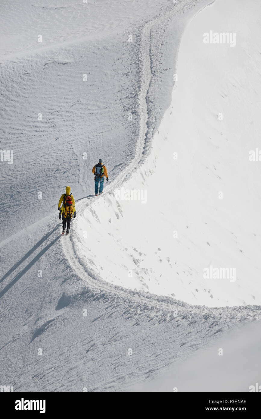 Mountaineers and climbers hiking on a snowy ridge, Aiguille du Midi, Mont Blanc Massif, Chamonix, French Alps, Haute Stock Photo
