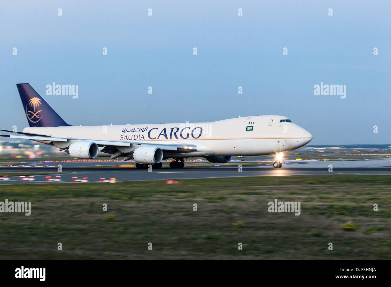 Saudia Cargo Boeing 747 at the runway of Frankfurt International Airport. - Stock Image