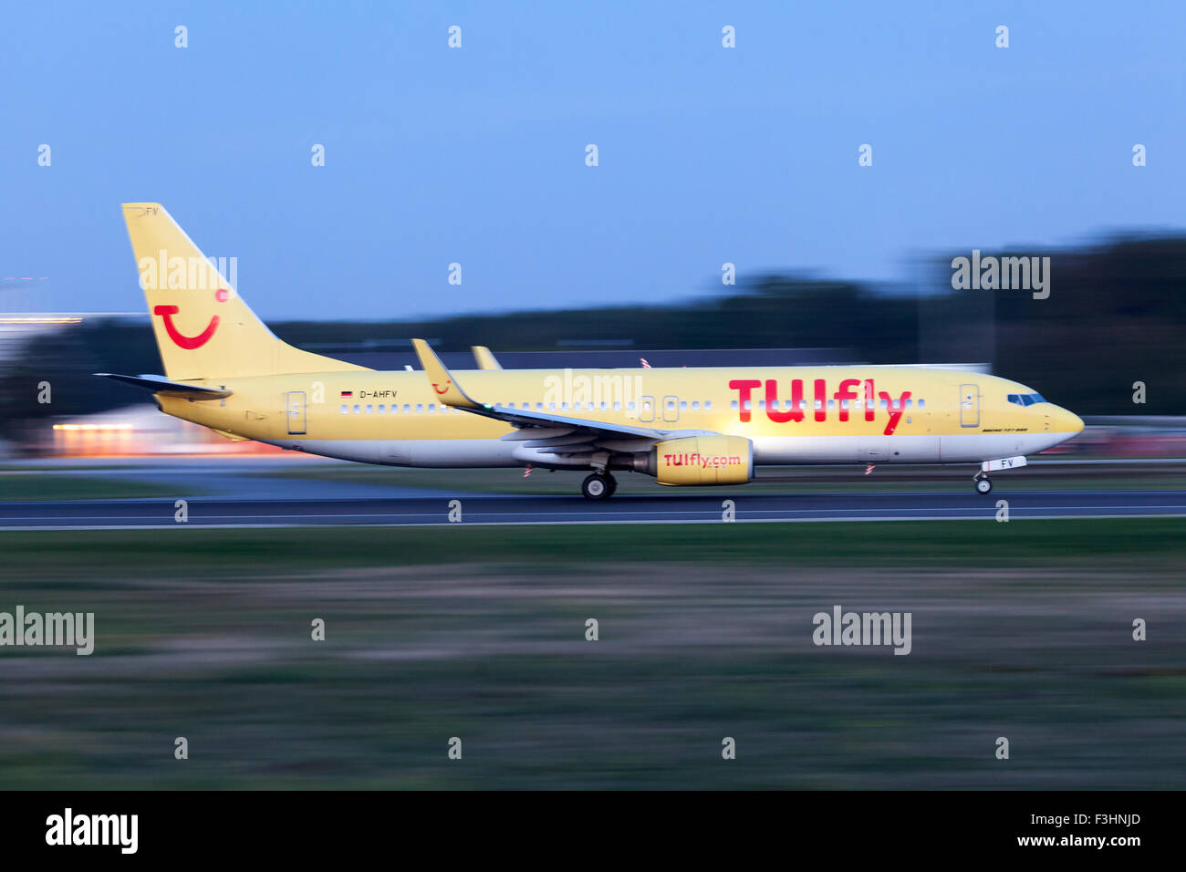TUIfly Boeing 737-800 at the runway of Frankfurt International Airport - Stock Image