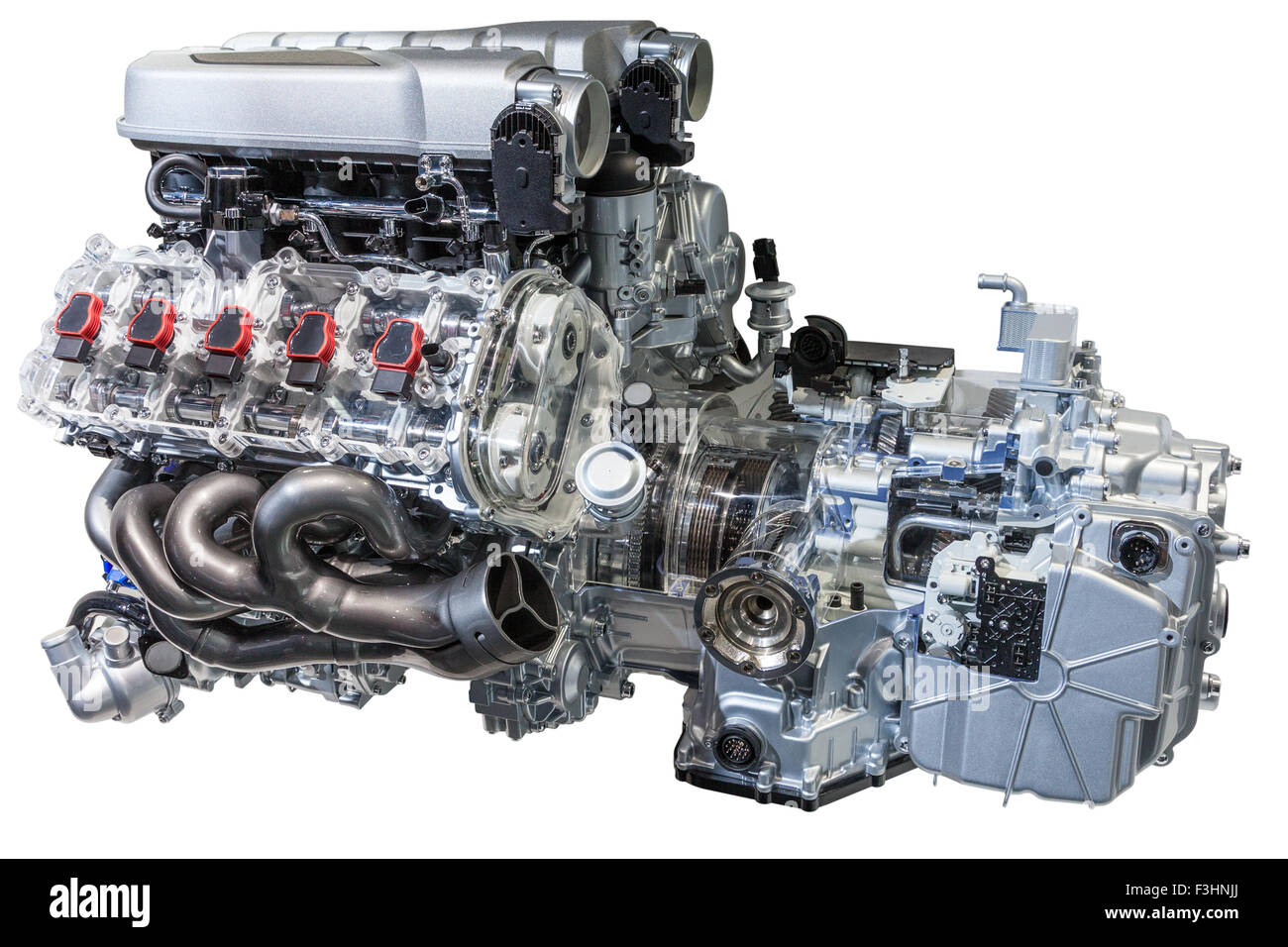 Engine And Transmission >> Modern V10 Sports Car Engine With Transmission Isolated On