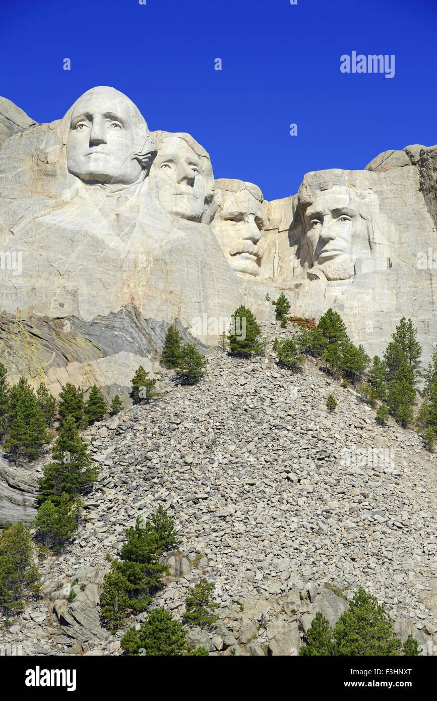 Mount Rushmore National Memorial, symbol of America located in the Black Hills, South Dakota, USA Stock Photo