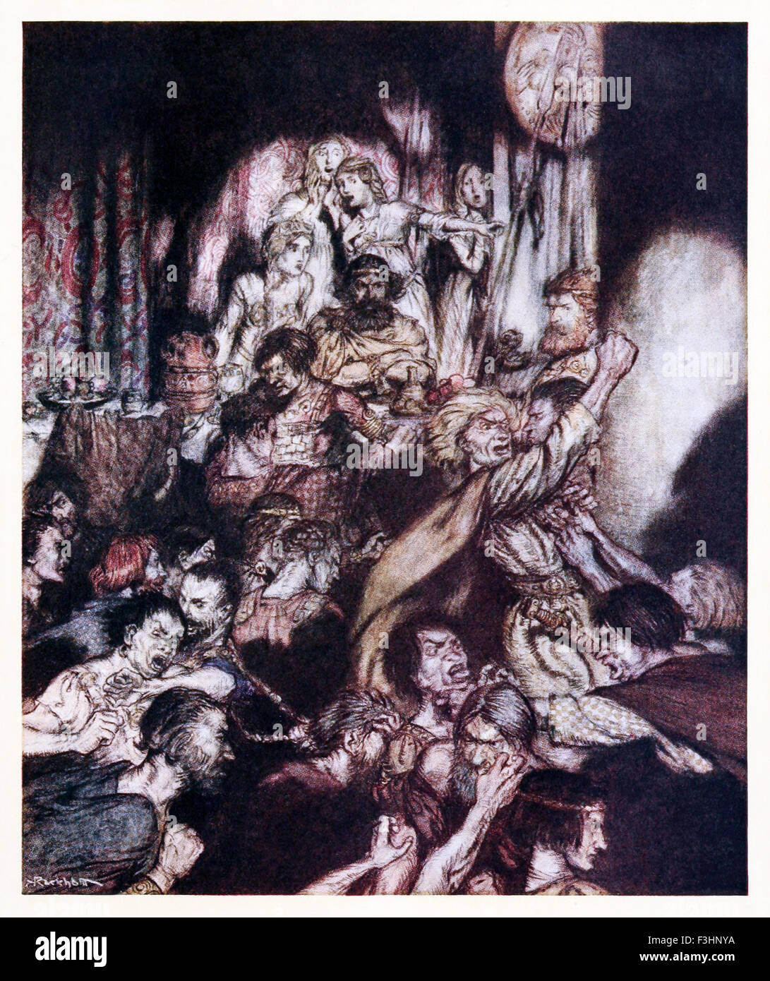 'The banqueting hall was in tumult.' from 'The Little Brawl' in 'Irish Fairy Tales', illustration - Stock Image