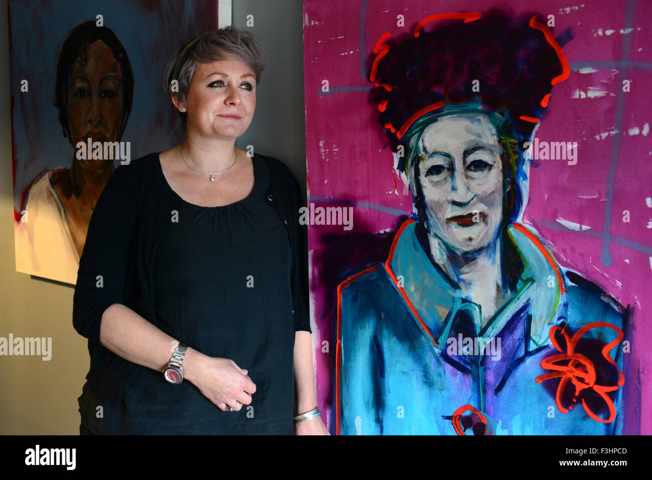 Barnsley based artist Michelle Clarke Stables with some of her work. - Stock Image