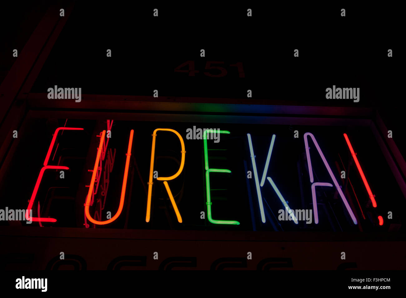 'Eureka!' in neon lights, found in a window in The Castro in San Francisco, California. - Stock Image