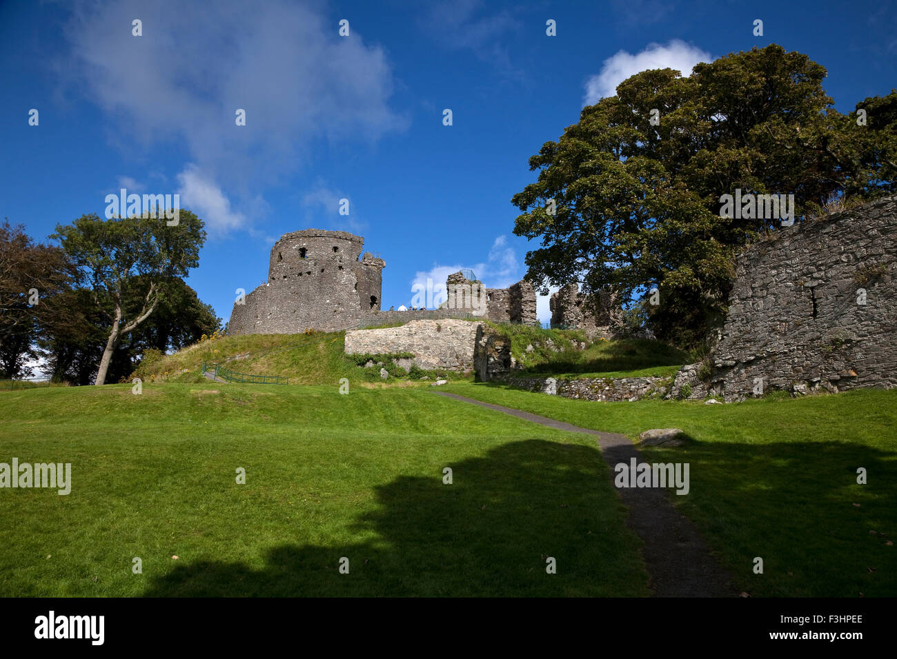 The Anglo Norman Castle started in 1180 by John de Courcy, Dundrum, County Down, Northern Ireland - Stock Image