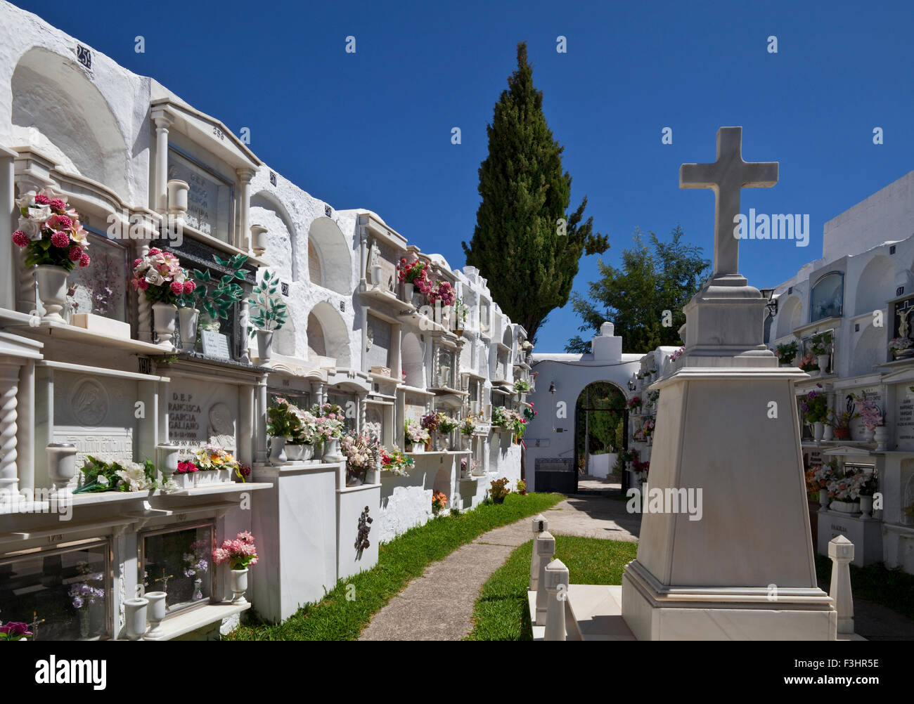 A peaceful graveyard in Casares, Malaga Province, Andalucia, Spain - Stock Image