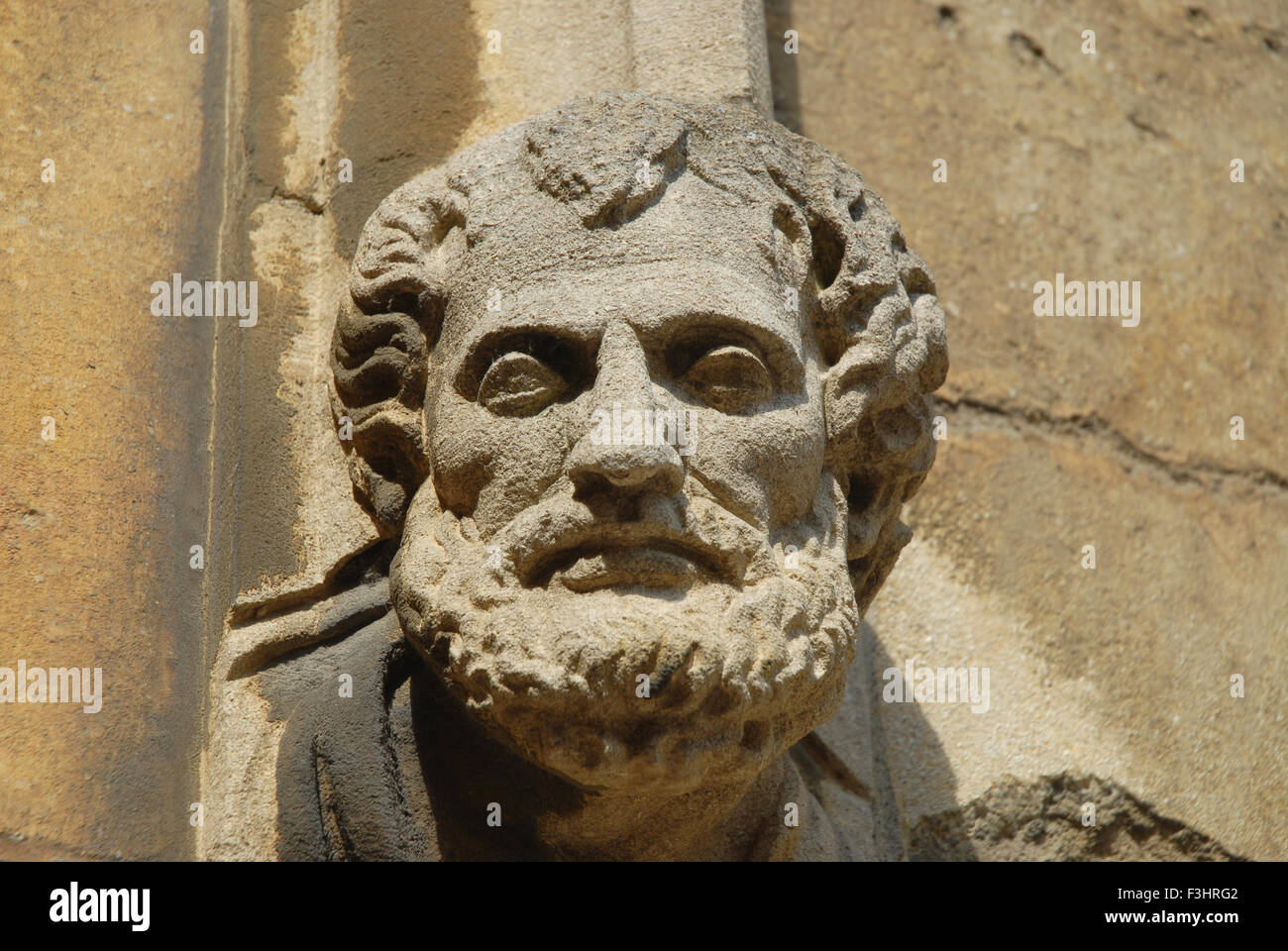 Aristotle decorating the Schola Moralis Philosophiae doorway, Bodleian Library, Oxford University, England - Stock Image