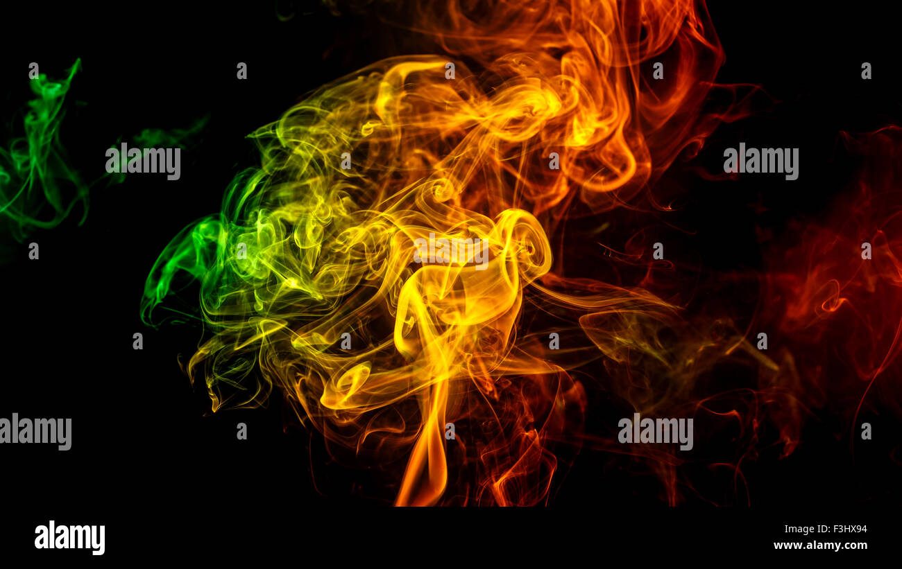 Abstract Art Color Yellow Green Orange Smoke From The