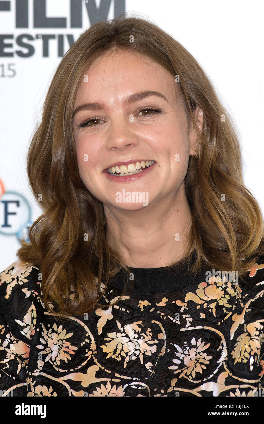 London. 7th Oct, 2015. Carey Mulligan attends the 'Suffragette' photocall during the BFI London Festival - Stock Image