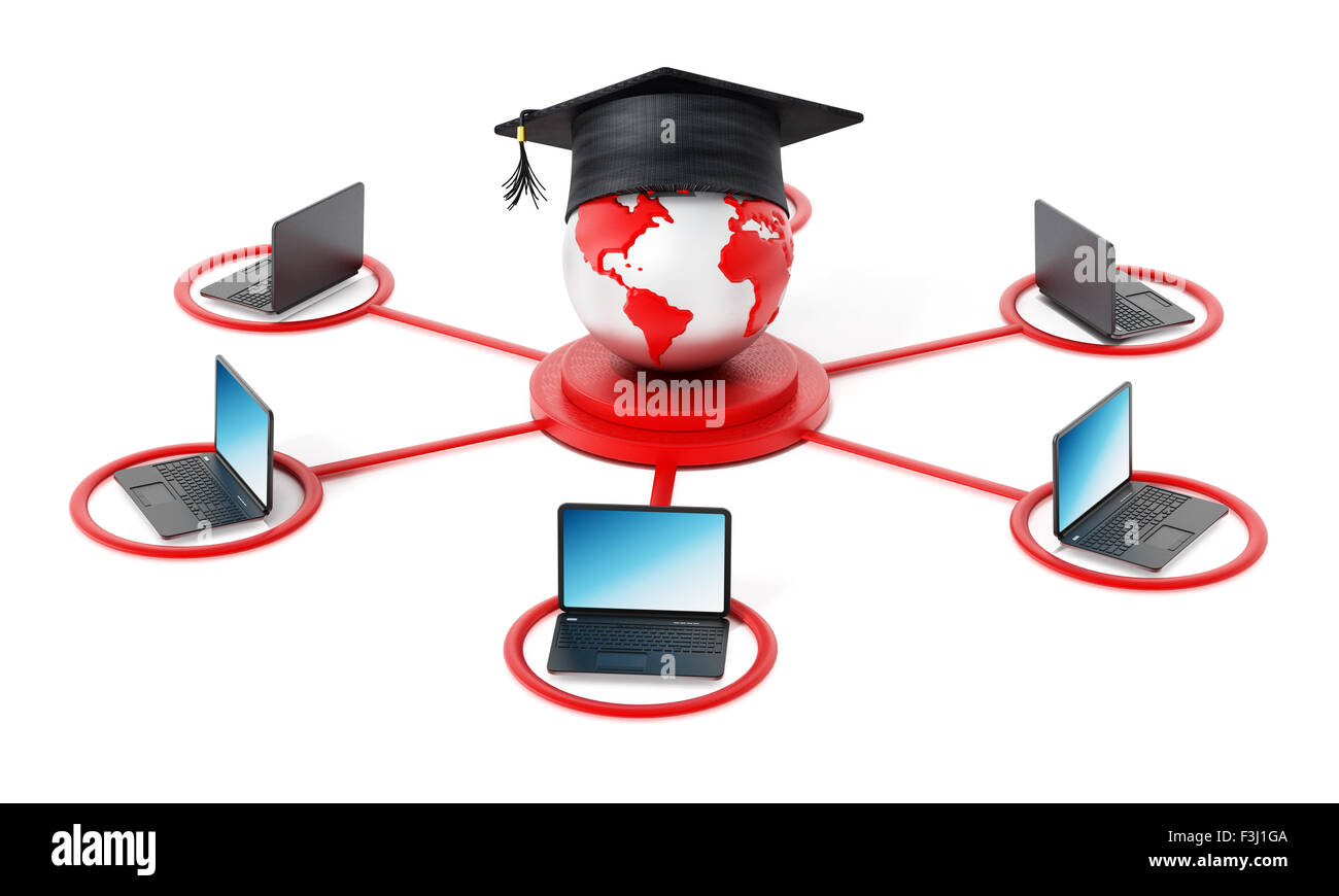 E-learning network. Laptop computer connected to the globe with a graduation cap at the the center point. - Stock Image