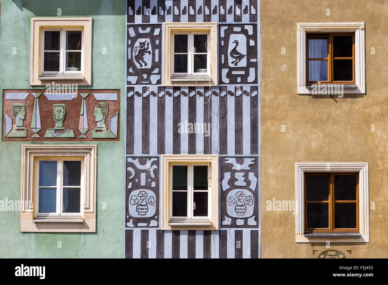 Colorful facades on the central square in Poznan - Stock Image