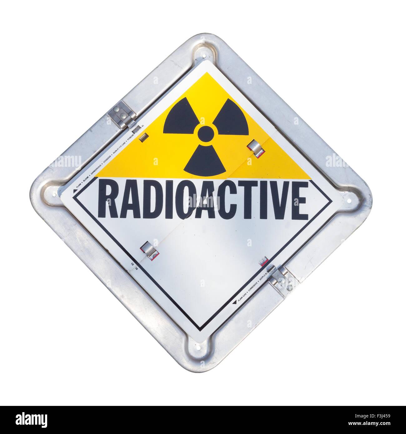 Truck transport radioactive warning sign. - Stock Image
