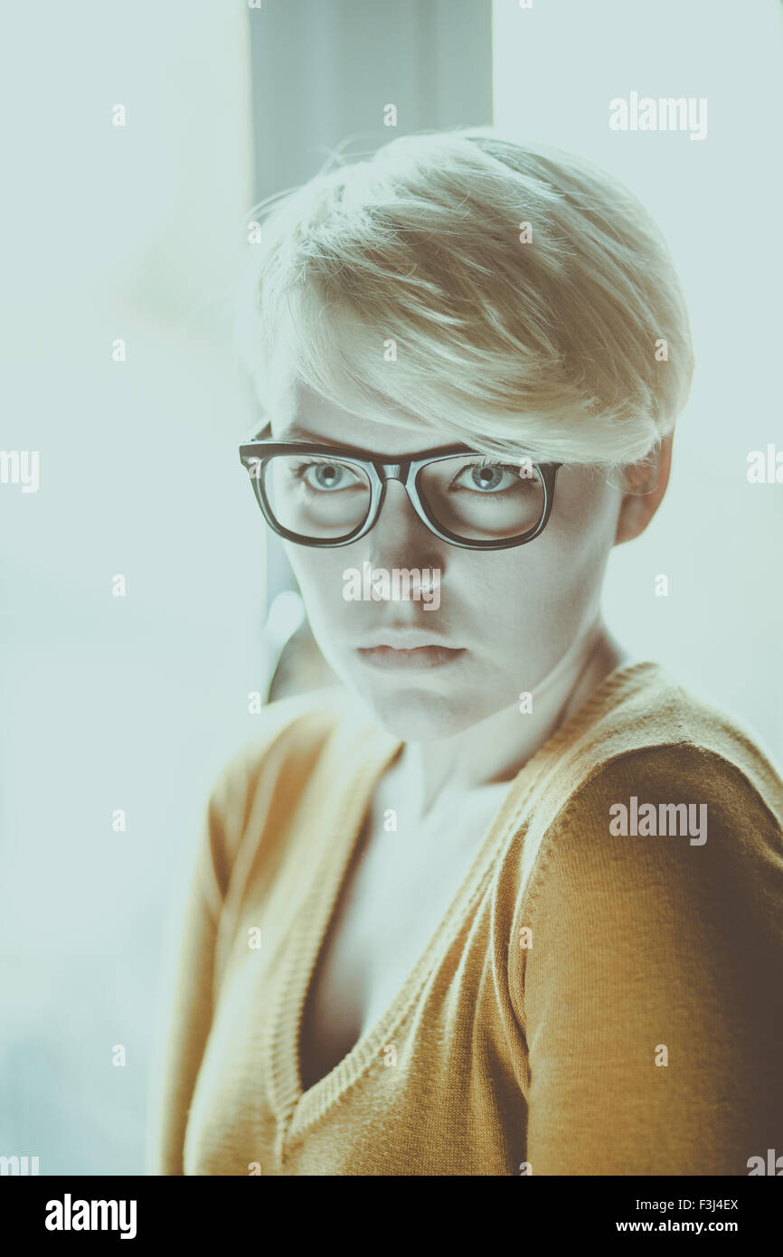Beautiful hipster girl with short hair - Stock Image