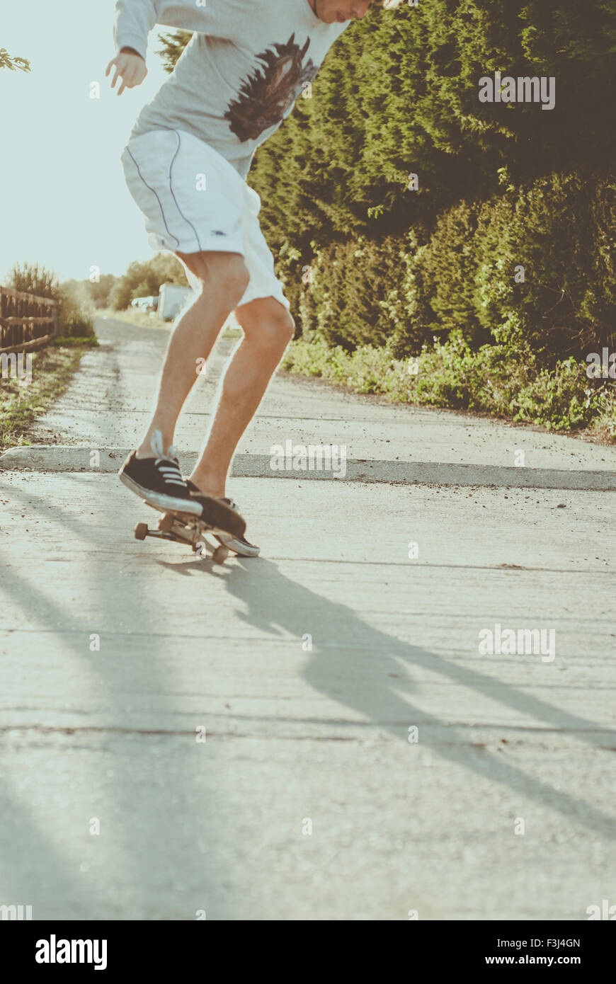 Young man skateboarding in the summer - Stock Image