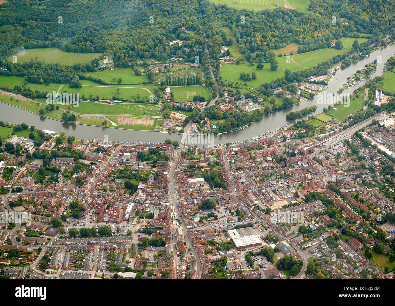 Henley on Thames, south east England, from the air - Stock Image