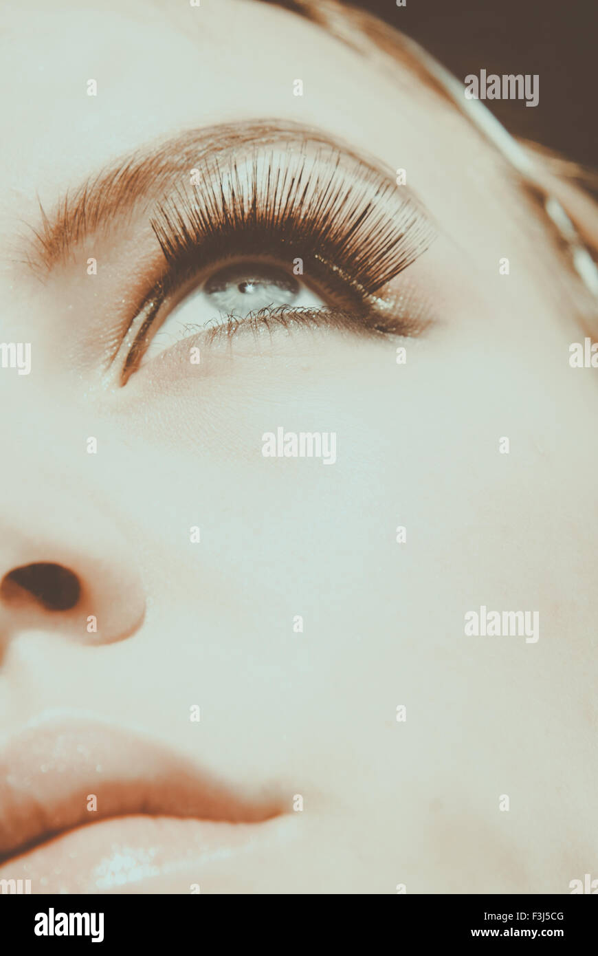 Close beauty shot of young woman - Stock Image