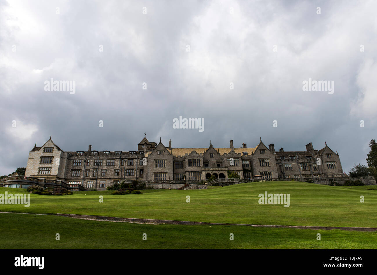 Front view of Bovey Castle Hotel Dartmoor, England, Great Britain, United Kingdom, Europe - Stock Image