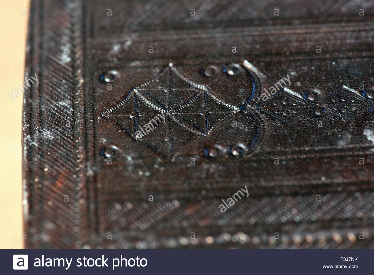 Leather Covered Wooden Box - Western Sahara - (Found By Explorer Kypros During 'The Last Great African Adventure' - Stock Image