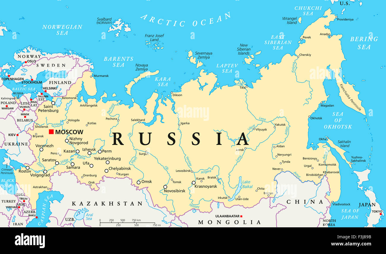 Russia political map with capital Moscow, national borders