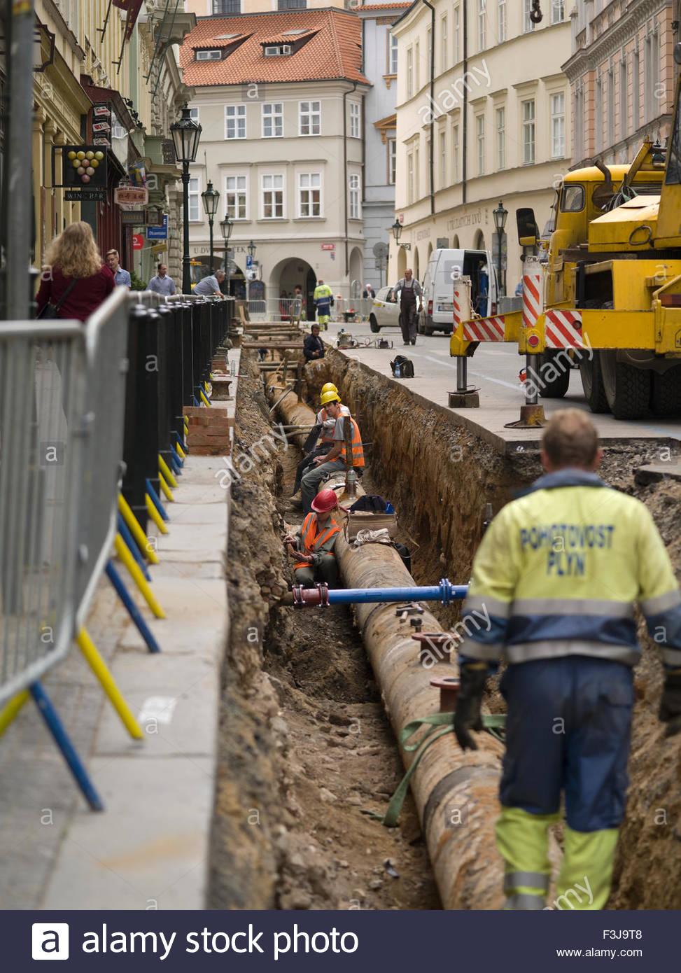 Roadworks People Doing Things - Prague Czech Republic Europe (Medium Format) - Stock Image