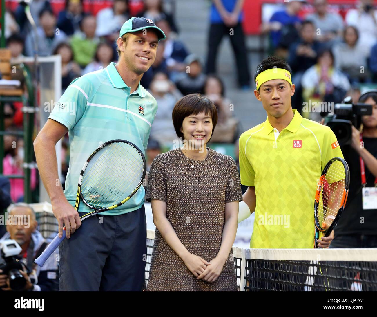 Tokyo, Japan. 7th Oct, 2015. (L-R) Sam Querrey (USA), Kasumi Ishikawa, Kei Nishikori (JPN) Tennis : Japan's - Stock Image
