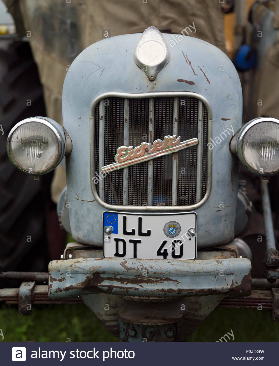 Ancient Farming Tractor - Bavaria Germany - Stock Image