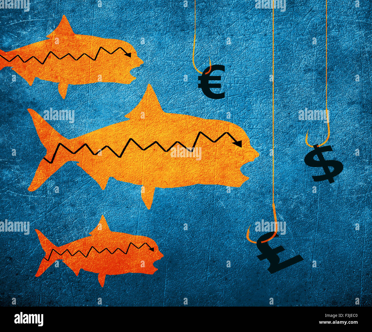fish fishing hook and money symbol digital illustration - Stock Image