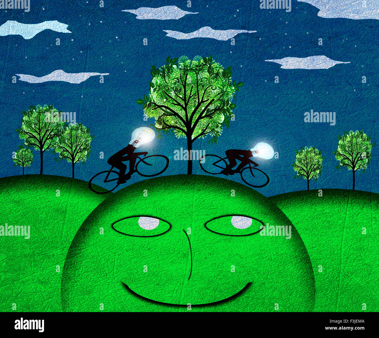 creativity concept nocturne landscape digital illustration - Stock Image