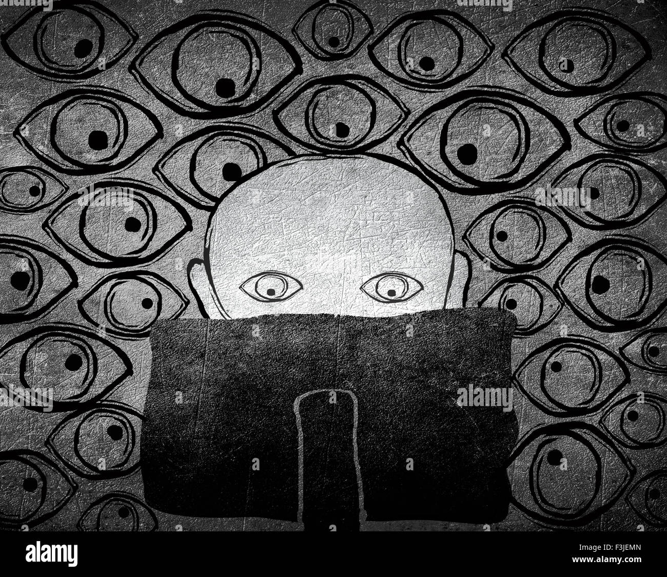 no privacy concept black and white digital illustration - Stock Image