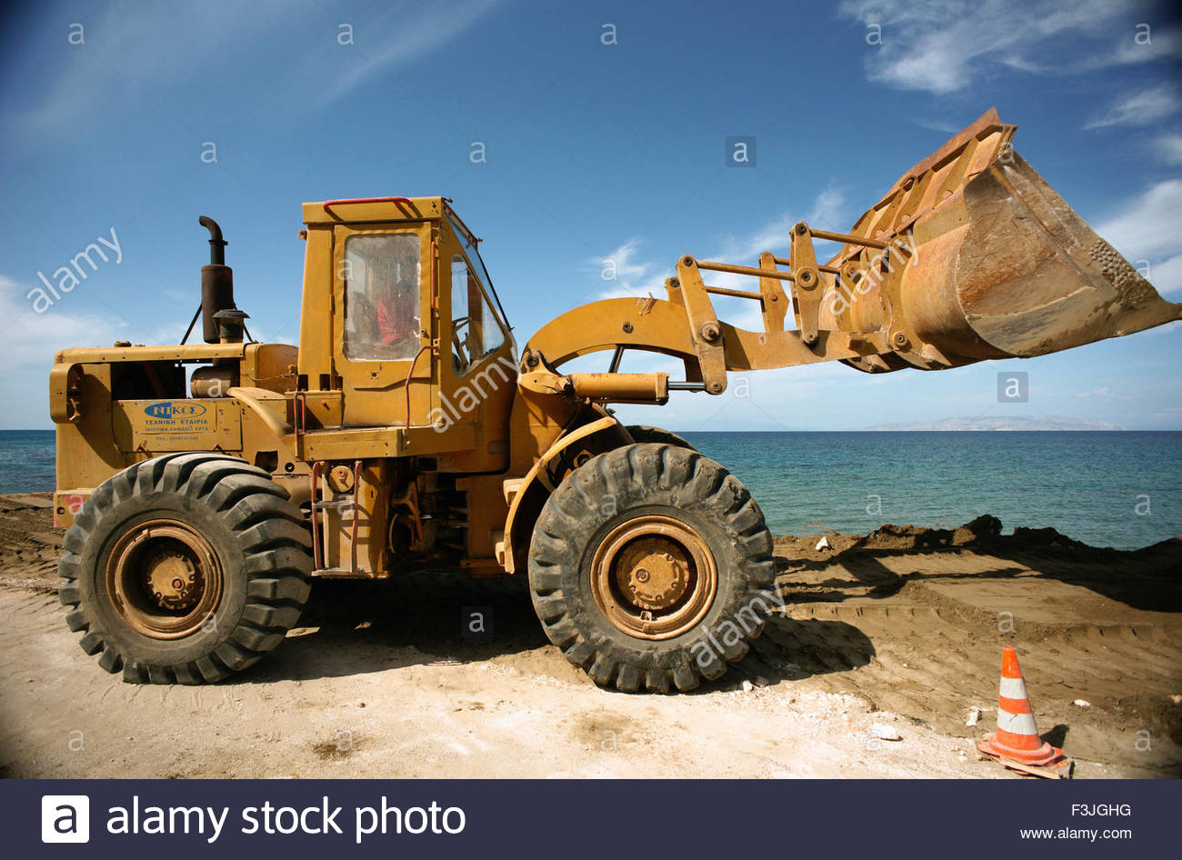 Front End Loader Earth Moving Equipment Greece Europe Stock Photo