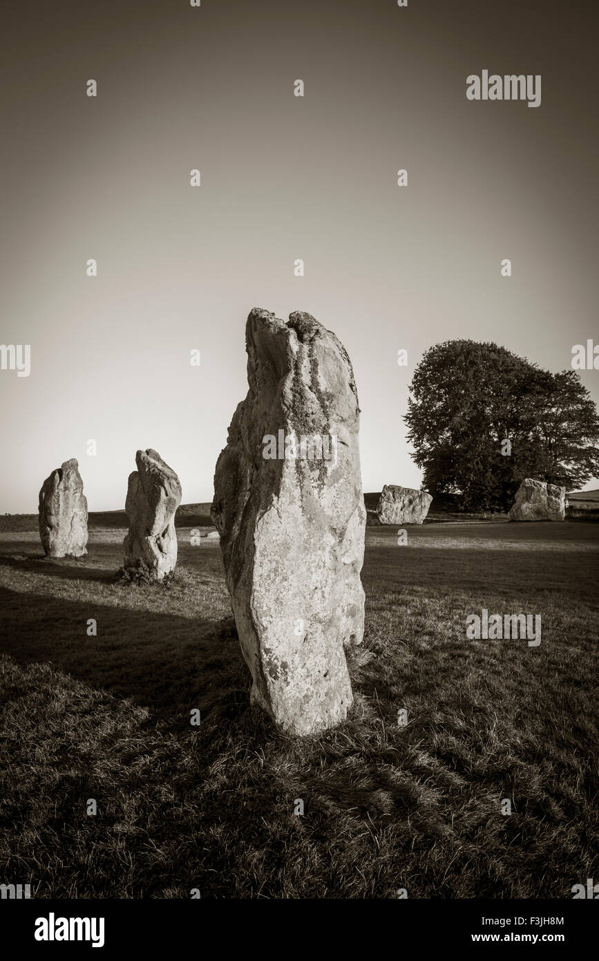 Standing stones of the inner Southern stone circle at Avebury, Wiltshire, UK - Stock Image