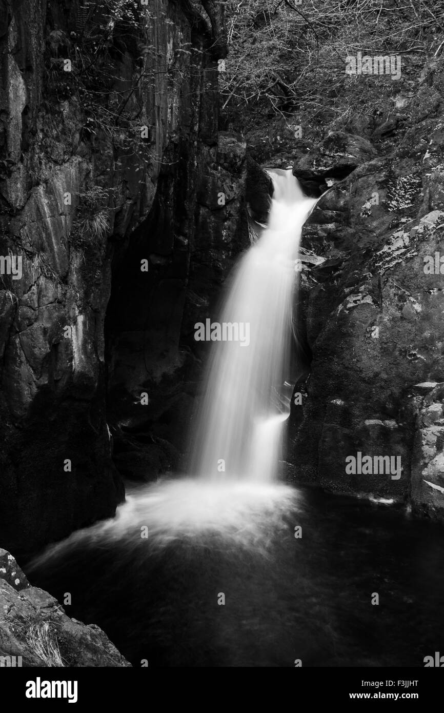 Water, waterfall, black, white, long ,exposure, Nd, filter path, stream, falling, child, cold, summer, day, hot - Stock Image