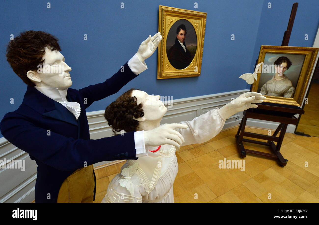 Sculptural replicas of the paintings 'Bernhard August von Lindenau' by  Louise Seidler (1786-1866) and 'Pauline - Stock Image