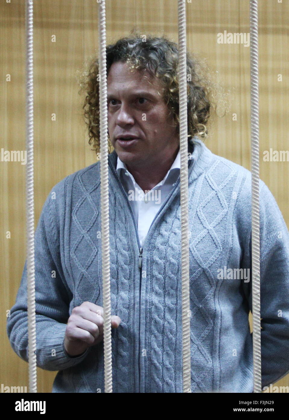 MOSCOW, RUSSIA. OCTOBER 8, 2015. Russian tycoon Sergei Polonsky, charged with large scale fraud, appears at a hearing - Stock Image