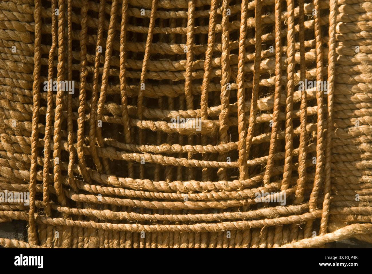 Jute chair at Varun farm Usarli village taluka Panvel Maharashtra India - Stock Image