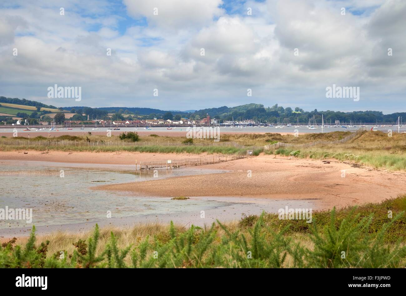 View over the Exe Estuary from Dawlish Warren Nature Reserve, Devon, England. Stock Photo